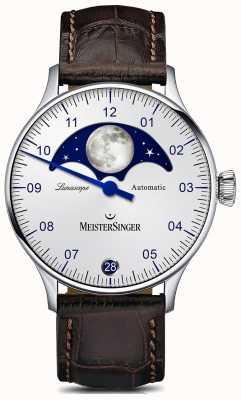 MeisterSinger Pangaea lunascope silbernes Zifferblatt braun Lederband LS901