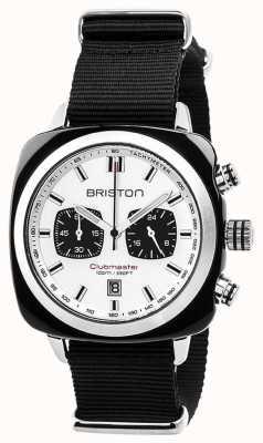 Briston Clubmaster Sport zeitlos schwarzes Armband weißes Zifferblatt 17142.SA.BS.2.NB