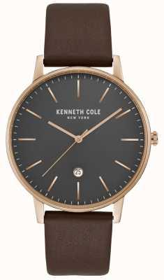 Kenneth Cole Herren Roségold Gehäuse grau Zifferblatt braunes Leder KC50009002