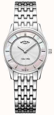 Rotary Ultra dünne silberfarbene Armband Mutter von Peal Zifferblatt LB08300/07