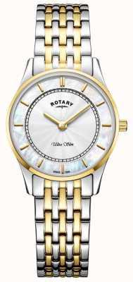 Rotary Ultraleichte zweifarbige Damenarmband-Mutter aus Peal-Zifferblatt LB08301/41