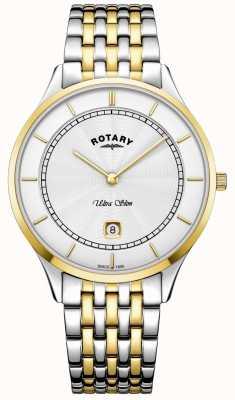 Rotary Herren ultra dünne weiße Zifferblatt Goldgehäuse Edelstahl Uhr GB08301/02