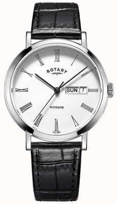 Rotary Ultraleichte schwarze Lederarmbanduhr für Herren GS05300/01