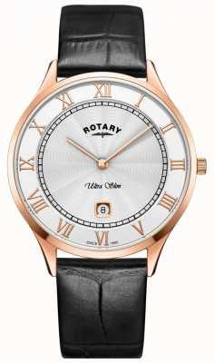 Rotary Ultraleichte schwarze Lederarmbanduhr für Herren GS08304/01
