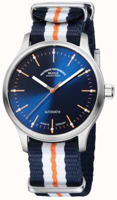 Muhle Glashutte Blaues orangefarbenes Band mit blau lackierter Auflage von Panova M1-40-72-NB