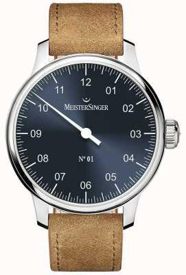 MeisterSinger Nr. 1 40mm und gewickeltes Sellita Wildleder Cognac Armband DM317