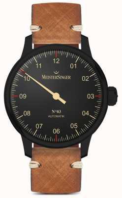 MeisterSinger Einzeiliger, schwarzer, hellbrauner Lederband AM902BL