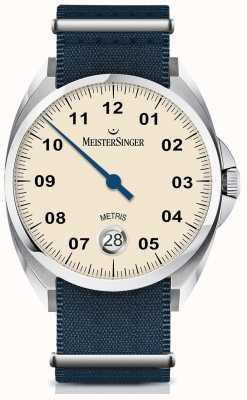 MeisterSinger Metris Automatik Elfenbein Zifferblatt Nylon Navy Armband ME903