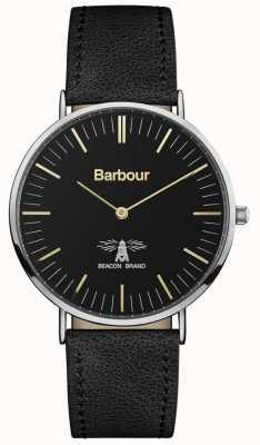 Barbour Hartley schwarzes Lederarmband, schwarzes Zifferblatt BB055BKBK