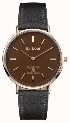 Barbour Hartley schwarzes Lederarmband braunes Zifferblatt BB055BRBK