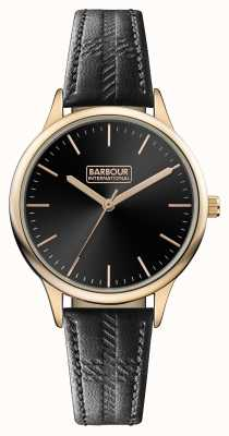 Barbour Herren Embleton schwarzes Lederarmband schwarzes Zifferblatt BB058RSBK