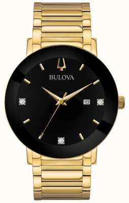 Bulova Mens moderne Uhr Gold getönten Armband schwarzes Zifferblatt 97D116