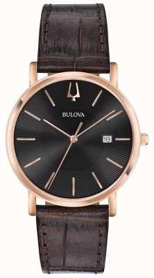 Bulova Herren Kleid Uhr braun Lederband schwarzes Zifferblatt 97B165