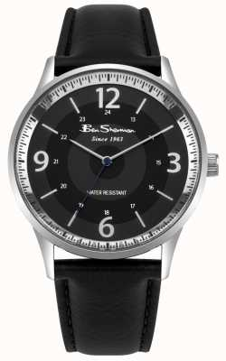 Ben Sherman Mens schwarzes Zifferblatt schwarz Lederband Skriptuhr BS001BB