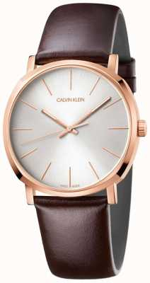 Calvin Klein Herren braun Lederband Roségold Uhr K8Q316G6