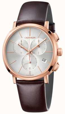 Calvin Klein Herrenuhr aus braunem Leder mit weißem Zifferblatt K8Q376G6