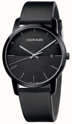 Calvin Klein Herrenuhr aus schwarzem Leder mit schwarzem Zifferblatt K2G2G4C1