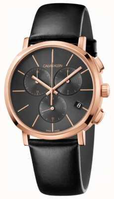 Calvin Klein Schwarze Leder Chronograph Herrenuhr K8Q376C3