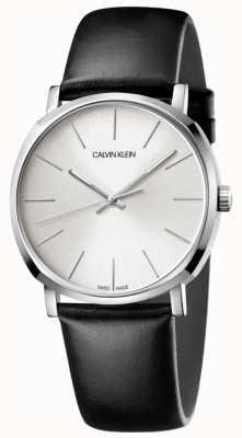 Calvin Klein Herrenuhr aus schwarzem Leder mit silbernem Zifferblatt K8Q311C6