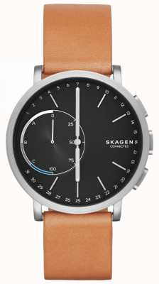 Skagen Hagen verbunden Smart Watch braunes Lederarmband schwarzes Zifferblatt SKT1104