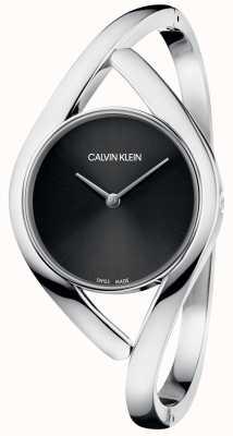 Calvin Klein Party Silber Edelstahlarmband schwarzes Zifferblatt K8U2S111