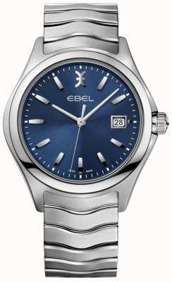 EBEL Mens Wave blau Zifferblatt Edelstahl Armband Datumsanzeige 1216238