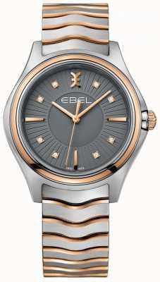 EBEL Frauen-Diamant-Wave-Gun Metall grau Zifferblatt zweifarbig Armband 1216309