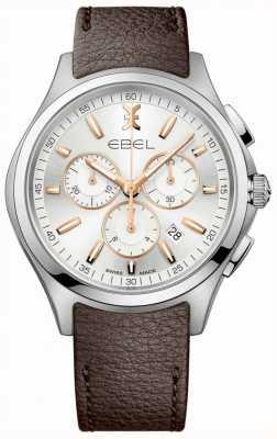EBEL Mens Wave Chronograph Datumsanzeige braunes Lederarmband 1216341