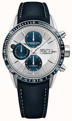 Raymond Weil Freelancer Herren Automatik Chronograph blaues Lederarmband 7731-SC3-65521