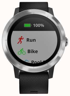 Garmin Vivoactive 3-Stunden-Multisport-Tracker mit schwarzer silberner Gummilünette 010-01769-00