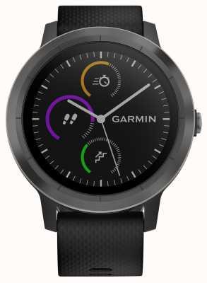 Garmin Vivoactive 3 Stunden Multisport Tracker schwarz Gummi schwarz Lünette 010-01769-10