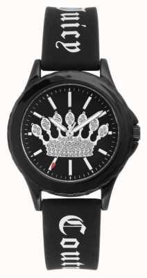 Juicy Couture Damen schwarzes Silikonband Uhr schwarzes Kronen Zifferblatt JC-1001BKBK