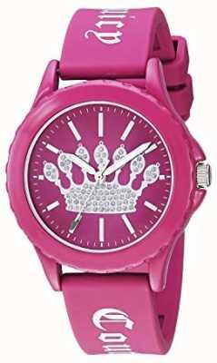 Juicy Couture Damen rosa Silikonband Uhr rosa Krone Zifferblatt JC-1001HPHP