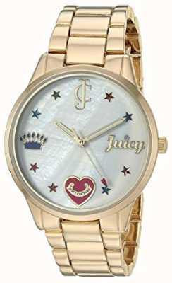 Juicy Couture Damenarmbanduhr aus goldfarbenem Stahl mit farbigen Markierungen JC-1016MPGB