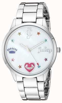 Juicy Couture Damenuhr aus Edelstahl mit farbigen Markierungen JC-1017MPSV