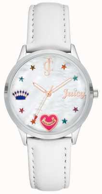 Juicy Couture Weiße Armbanduhr aus Silikon mit farbigen Markierungen JC-1019WTWT