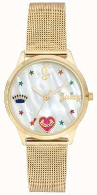 Juicy Couture Damenarmbanduhr aus Gold mit farbigen Markierungen JC-102WTGB