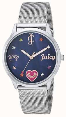 Juicy Couture Damenarmband aus Silber | farbige Markierungen | blaues Zifferblatt JC-1025BMSV