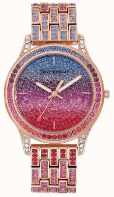 Juicy Couture Glitzeruhr für Damen mit Armband aus roségoldfarbenem Stahl JC-1044MTRG