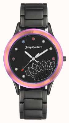 Juicy Couture Womens schwarzes Armband schwarzes Zifferblatt mit farbiger Lünette JC-1053MTBK