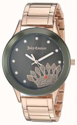 Juicy Couture (keine Box) Damen Roségold Edelstahl | schwarzes Zifferblatt JC-1052OLRG