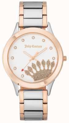 Juicy Couture Womens roségoldfarbene Krone Zifferblatt und zweifarbiges Armband JC-1053WTRT