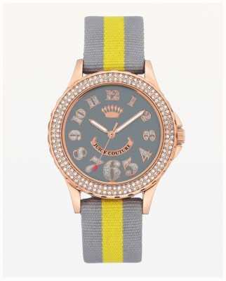 Juicy Couture Großes, graues und gelbes Damen Nylonarmband JC-1056RGGY