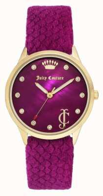 Juicy Couture Damen Burgunder Zifferblatt | Burgunder-Samtband | Goldfarbenes Gehäuse JC-1060HPHP
