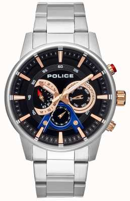 Police Elegantes Armband aus Edelstahl mit schwarzem Zifferblatt PL.15523JS/02M