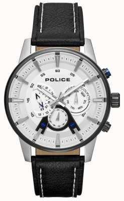 Police Herren Smart Style schwarzes Lederarmband silbernes Zifferblatt PL.15523JSTB/04
