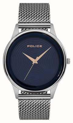 Police Mens Smart Style Edelstahlgewebe Armband blaues Zifferblatt PL.15524JS/03MM