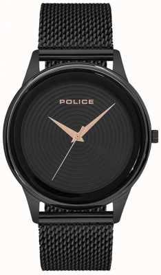 Police Schwarzes Herren Mesh Armband mit schwarzem Zifferblatt PL.15524JSB/02MM