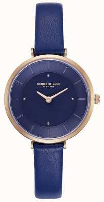 Kenneth Cole Blaue Damenuhr aus Leder mit blauem Zifferblatt KC50306005