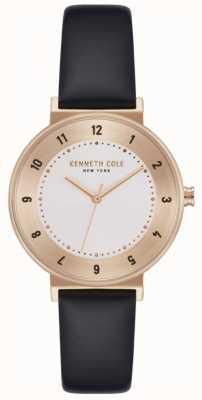 Kenneth Cole Damen schwarz Lederband weiß Zifferblatt Uhr KC50075003